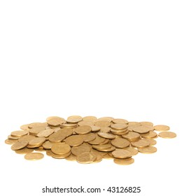 Stack of golden coins with copyspace isolated on white