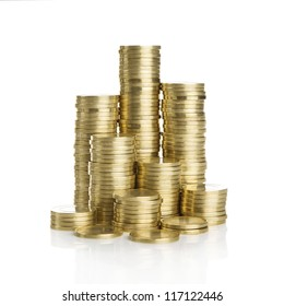 Stack of golden coins isolated on white background