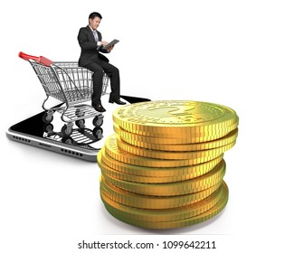 Stack of golden question mark digital coin with businessman using tablet sitting on shopping cart and smart phone, isolated on white background, concept of cryptocurrency and online shopping.