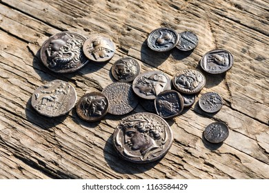 stack of Greek ancient coins