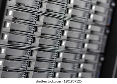 Stack Of Hard Drives In SAN At Datacenter