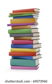 A stack of hardback books on white