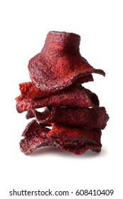 Stack of healthy beet chips isolated on a white background