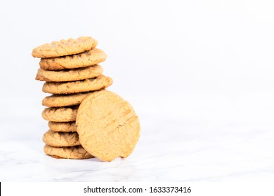 Stack of home made freshly baked peanut butter cookies.