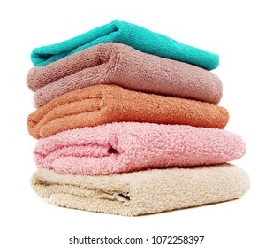 Stack of the home towels on white