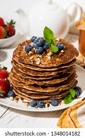 stack of homemade delicious pancakes for breakfast, closeup