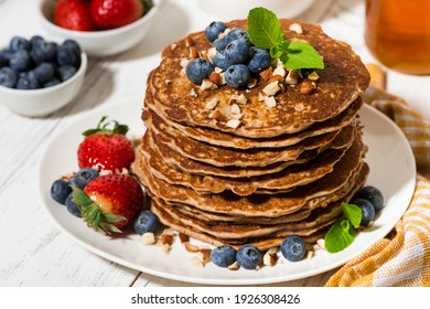 stack of homemade delicious pancakes for breakfast, closeup horizontal