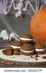 Stack of homemade Pumpkin Whoopee Pies.