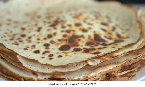 A stack of hot Blini (Russian Pancakes)