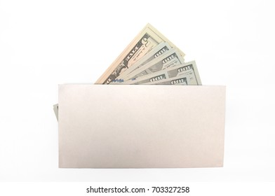 a stack of hundred dollar bills in a white blank envelope