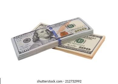 Stack of hundred dollars isolated on white background