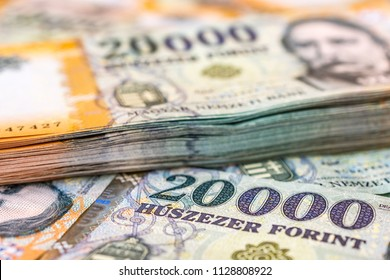Stack of Hungarian 20000 forint banknotes close up
