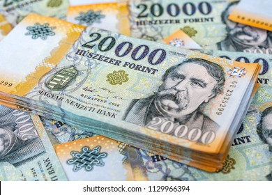 Stack of Hungarian 20000 forint banknotes close up