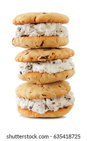Stack of ice cream sandwiches with homemade cookies isolated on a white background