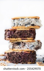 Stack of ice cream sandwiches on white background