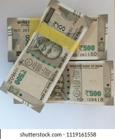 stack of indian rupee notes in white background 500 Rupees