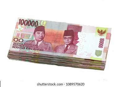 A Stack of Indonesian One Hundred Thousand Rupiah or Seratus Ribu Rupiah