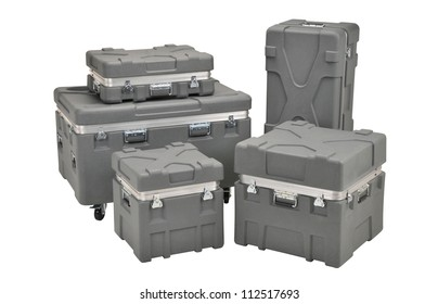 Stack of industrial cases isolated on a white background