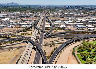 The Stack Interchange viewed west to east where Interstate 10 and Interstate 17 meet in Phoenix, Arizona
