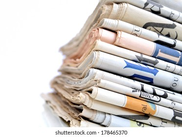 Stack of international newspapers