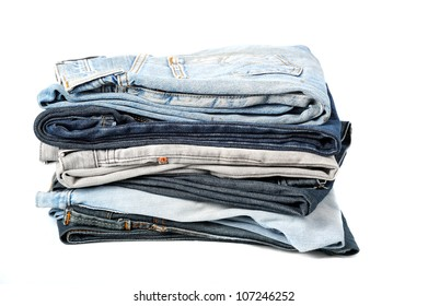 stack of jeans isolate on white background