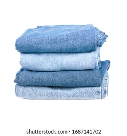 stack of jeans isolated on a white background