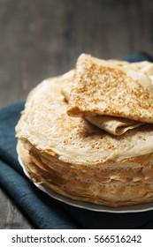 Stack of kefir (buttermilk) pancakes traditional for Russian pancake week