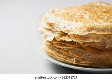 Stack of kefir (buttermilk) pancakes traditional for Russian pancake week