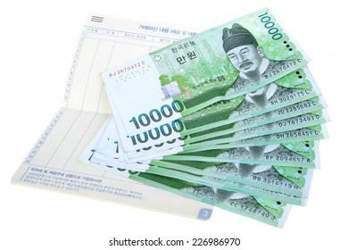Stack of korea money isolated on white background