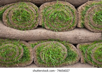 A stack of lawn turf ready to lay