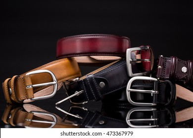 Stack of leather belts