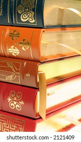 Stack of Leather Bound Books