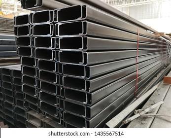 stack of light lip channel steel or C channel steel