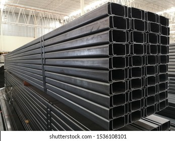 stack of light lip channel steel or C channel steel for construction supplies
