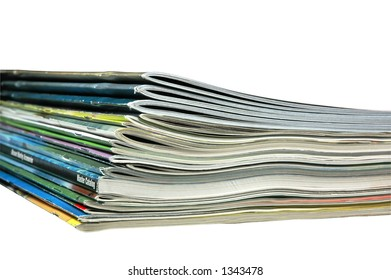 Stack of magazines and catalogs.