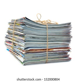 Stack of magazines tied with string