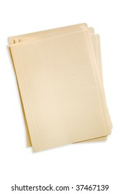 Stack of manilla file folders, with clipping path.