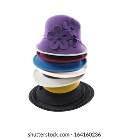 Stack of many female hat