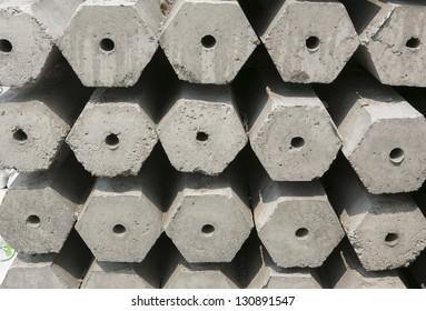 Stack of many Hexagon concrete pillar