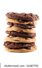 Stack of mixed double chocolate and chocolate chip cookies against a white isolated background.