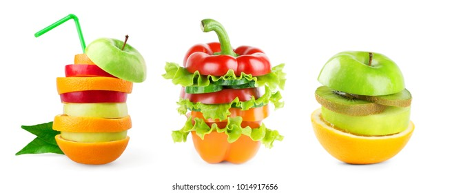 Stack of mixed fruit and vegetable slices on white background. Collection of fresh food