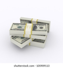 Stack of money - Stack of 100 dollar bills on white background