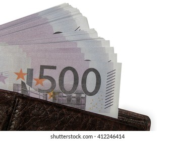 A stack money of 500 euro in a purse close-up