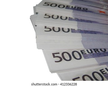 A stack of money 500 euros on a white background