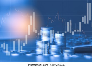 Stack of money coin with trading graph, financial investment concept use for background - Shutterstock ID 1389723656