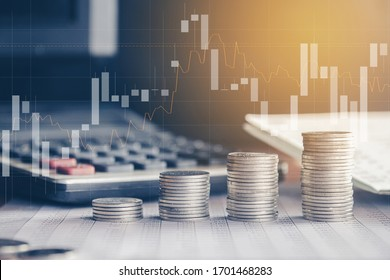Stack of money coin with trading graph, financial investment concept can be use as background