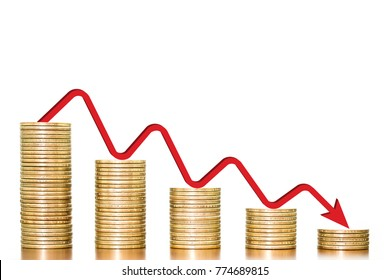 Stack of money coins arranged as a graph on wooden table with red arrow indicates economic downturn on white background, concept of business and finance downturn
