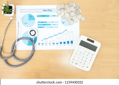 Stack of money coins with stethoscope checking