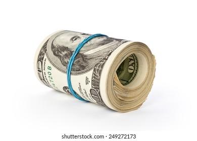 stack of money dollars isolated on white background