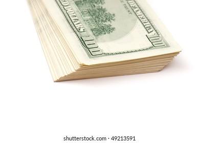 stack of money on white isolated background.  studio photo.